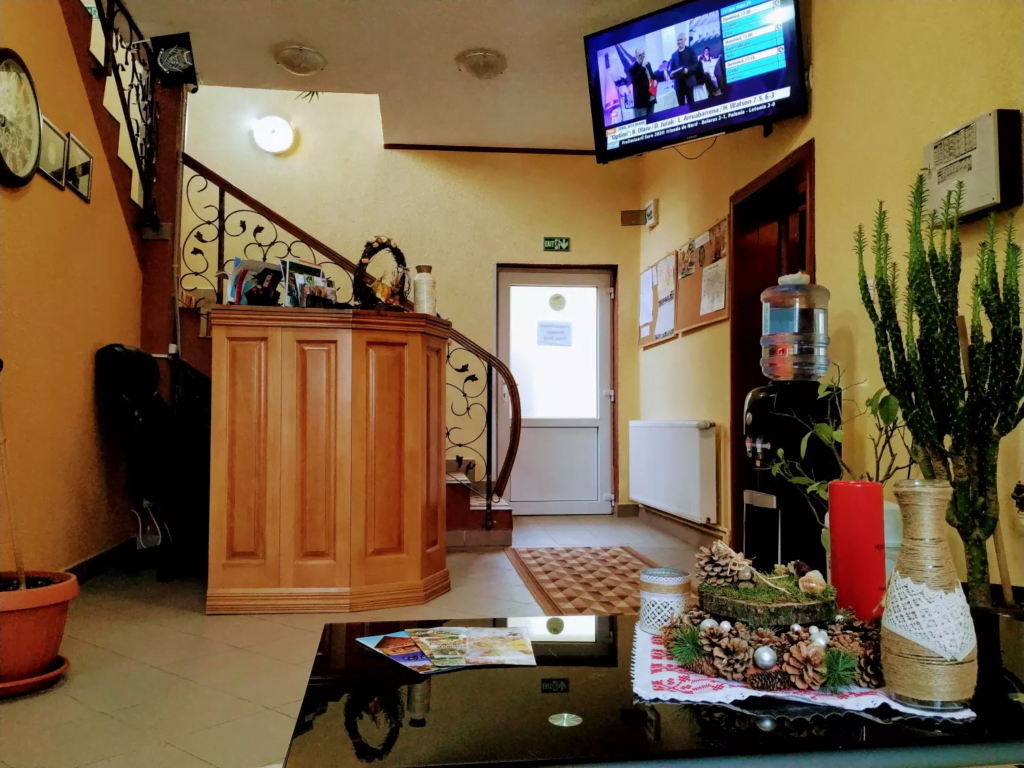 venesis-house-sighisoara-front-desk-led-tv-free-water-chill-place-to-rest-nice-plants