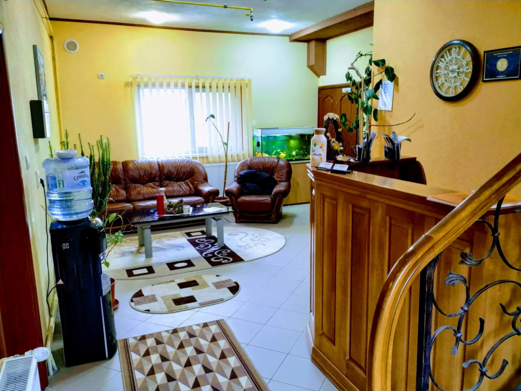 venesis-house-sighisoara-front-desk-led-tv-free-water-chill-place-to-rest-sofa