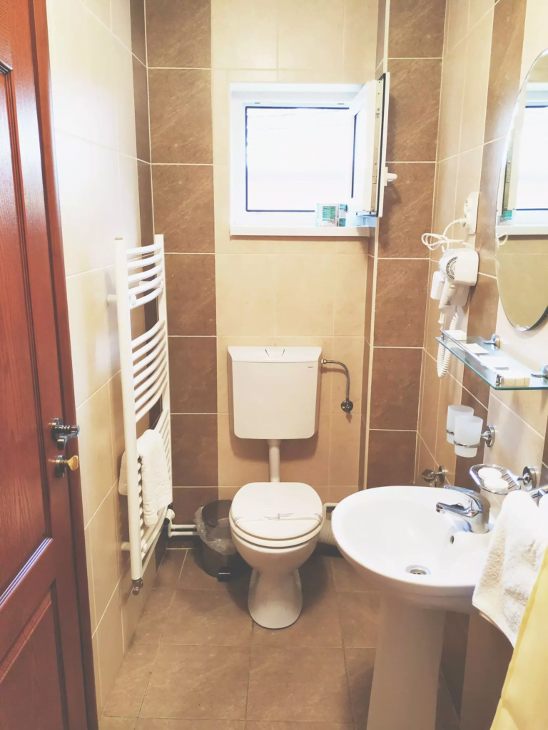 venesis-house-sighisoara-room-no-2-bathroom-toilet-sink-hairdryer-towels-toiletries